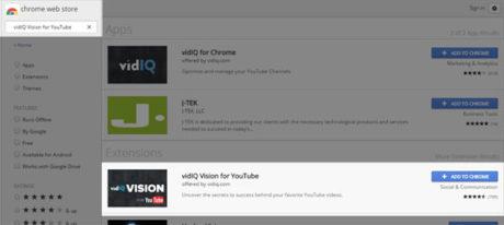 vidIQ Vision for YouTube plugin seo